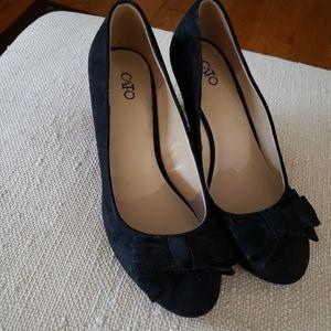 Black suede 8.5 women's wedge dress shoes
